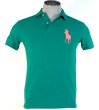 Polo Ralph Lauren Custom Fit Green Short Sleeve Polo Shirt Big Pink Pony Mens
