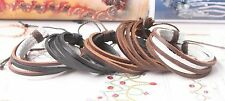 1pcs Real leather Bracelet Adjustable Cuff Hemp Men Bracelet& Bangles Wristband