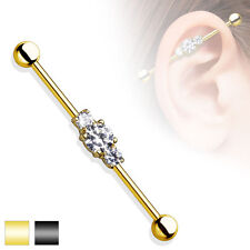 16G 14G  36 mm Long Gold or Black IP with Three Clear CZ Gem Industrial Barbell
