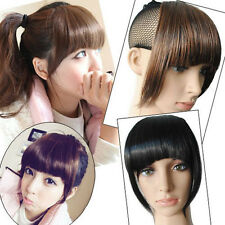 Synthetic Straight False Bangs Neat Fringe Hairpiece Clip in On Hair Extensions