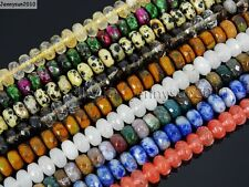 Natural Gemstones 5mm x 8mm Faceted Rondelle Spacer Loose Beads 15'' Strand