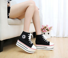 Trendy Women Ladies High Top Canvas Lace Up Comfort Platform Sneakers Shoes New