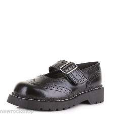 T.U.K. T1002 TUK  Ladies Anarchic Black Leather Brogue Mary Jane Shoes Buckle