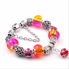 Fashion European Style Mix Color Crystal Charm Beads Alloy Bracelet Jewelry #054