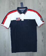 New NWT Mens Tommy Hilfiger USA Polo Shirt Custom Fit Navy White Size S M L XL