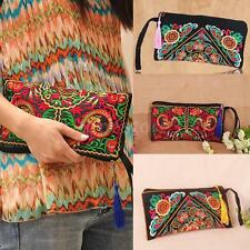 Womens Handbag Purse Wallet Clutch Bag Embroidery Contrast Wrist Strap NEW 2X21