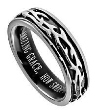 Crown Of Thorns Ring Amazing Grace, Stainless Steel with Christian Bible Verse