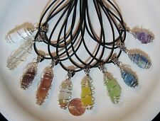 """1 """"Cage Wrapped"""" Natural Pendant- Rough, Raw Shards of Crystals/Minerals/Stones"""