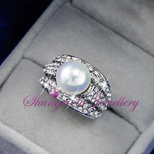 18K White GOLD GP Womens White Shell Pearl Costume RING SWAROVSKI CRYSTAL R4901