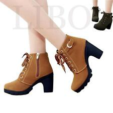 Womens Chunky Mid Heels Boots Lace Up Nubuck leather Wedge Platform Pump Shoes