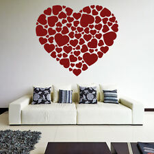 Vinyl Wall Decal Hearts in Heart Shape, Romantic Love Art Decor Sticker Mural