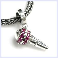 Sterling Silver Microphone Pink CZ Dangle Music Bead f/ European Charm Bracelet