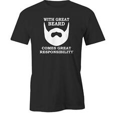 With Great Beard Comes Great Responsibility T-Shirt Hiptser Moustache Swag  Tee