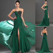 Women Sexy Long Prom Dresses Formal Evening Party split dress Ball Gown green