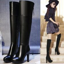 Women's Black Leather Over the Knee High Heel Platform Boots Round Toe Ankle Zip