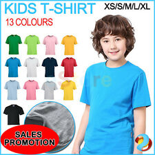 Kids Tee Shirt Children Boys Girls Plain Summer Short Sleeve T Shirt 100% Cotton