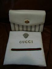 GUCCI WHITE LEATHER STRIPES CLUTCH AND SHOULDER BAG W/ DUST BAG MADE IN ITALY
