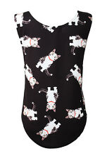 Women's Cute Kitty Cats All Over Print Dropped Armhole Vest Tank Top Tee