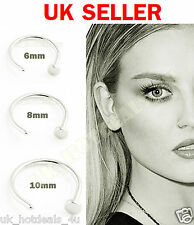 Small Tiny Surgical Steel Open Nose/Lip/Eyebrow Hoop Ring Stud Tragus Piercing