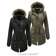 Womens New Ladies Fur Hooded Coat Military Parka Jacket Padded Sizes 8-24