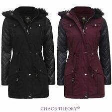 Ladies Womens Jacket Coat Pvc Quilted Sleeve Fishtail Fur Hooded Parka 8-16