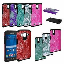 Protective Hybrid Phone Case for Samsung Galaxy Prevail LTE / Core Prime + Glass