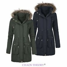 Womens Ladies Faux Fur Hooded Quilted Winter Parka Jacket Coat Plus Sizes 8-24