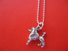 Poodle Charm, Sterling Silver Dog Necklace, 925 Ball Chain, Animal Pendant Gift