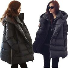 Winter Womens Loose Coat Duck Down Jacket Hooded Warm Outwear Parka Black Size L
