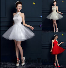 Halter Lace Homecoming Cocktail Party Graduation  Short Bridesmaid  Prom Dresses