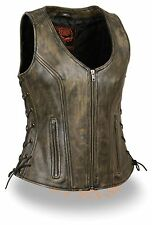 WOMEN'S MOTORCYCLE RIDERS DISTRESSED BROWN SOFT LEATHER VEST W/ SIDE LACES NEW
