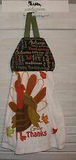 Thanksgiving Words Turkey 'Give Thanks' Hanging Kitchen Oven Dishtowel HCF&D