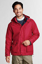 NWT Land End Mens Hooded Windbreaker Rain Jacket  L (42-44), XL (46-48) Red $89