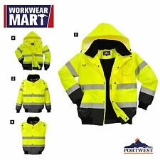 High-Visibility Rain Jacket Contrast Bomber Work, 3-in-1, M-6XL,Portwest UC465
