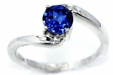 1 Ct Blue Sapphire Round Ring .925 Sterling Silver