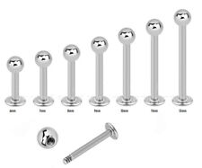 "1pc. 16g~1/4"" to 1/2"" with 3mm ball 316L Surgical Steel Labret Monroe Tragus"