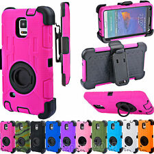 Rugged Hybrid Impact Hard Case Cover Clip Holster For Samsung Galaxy Note 4 / 5