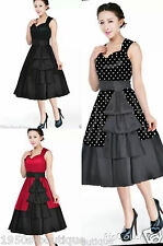 Black Vintage Retro 1950's Rockabilly Swing Prom Party 50s Pin Up  Dress 10-30