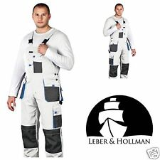 Bib and Brace Overalls Painters Mens Work Trousers Knee Pad Decorators White L&H