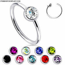 5 pcs 20G 18G Steel Single CZ Gem Fixed Ball Captive Bead Ring Nose Hoop Ring
