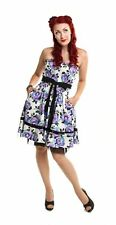 Rockabella Holly Dress Blue Roses Rockabilly Petticoat Shirred Cute Retro Dress