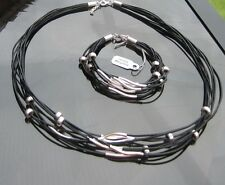 Genuine Leather Cord Bracelet and Necklace with 925 Silver Clasp and Beads