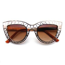 Womens Indie Metal Mesh Cut Out Cat Eye Sunglasses Trendy Fashion