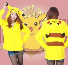 Women's Pocket Monster Pikachu Cute Hoodie Sweatshirt Jacket Long Sleeve Jacket
