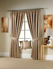 Luxury Woodland Jacquard Design Lined Pencil Pleat Taped Curtains - Coffee Beige