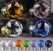 30mm Round Crystal Glass Cabinet Drawer Wardrobe Door Pull Handle Knobs welcome