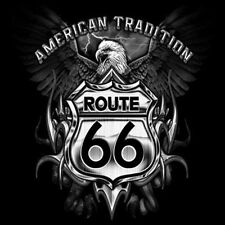 American Tradition Route 66 Road Sign Americas Highway Eagle Crest T-Shirt Tee