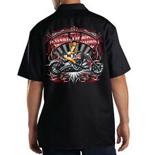 Dickies Mechanic Work Shirt Loyal To None Motorcycle Biker Pin Up Girl