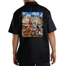 Dickies Black Mechanic Work Shirt Mount Rushmore Motorcycle Biker Pin Up Girl