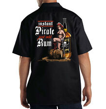 Dickies Mechanic Work Shirt Instant Pirate Just Add Rum Pin Up Girl Alcohol